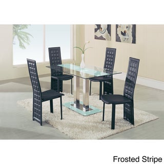 Center Stripe Glass Dining Table