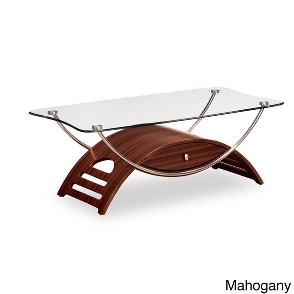 Arched Base Tempered Glass Top Coffee Table
