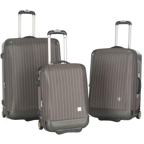 Lotus Oneonta 3-piece Grey Stripe Luggage Set - 0