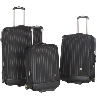 Lotus Oneonta 3-piece Black Stripe Luggage Set