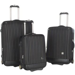 Lotus Oneonta 3-piece Black Stripe Luggage Set