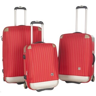 Lotus Oneonta 3-piece Red Stripe Luggage Set