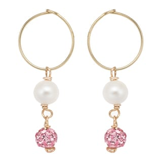 Pearlyta 14k Gold Freshwater Pearl and Pink Crystal Hoop Earrings with Gift Box (5-6 mm)
