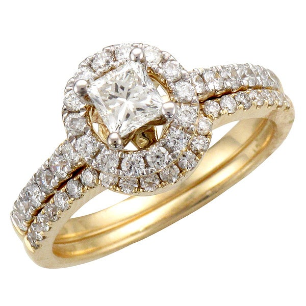 Unending Love 14k Yellow Gold 1 1/4ct TDW Diamond Halo Bridal Ring Set (H-I, I1-I2)