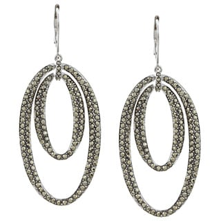 CHROMA Sterling Silver Double Oval Earrings Made with SWAROVSKI MARCASITE