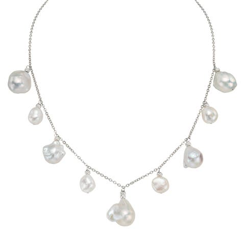 Pearlyta Sterling Silver White Freshwater Pearl Chain Necklace (11-20 mm)