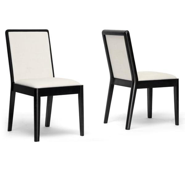 Baxton Studio Maeve Dark Brown and Cream Modern Dining Chair (Set of 2)