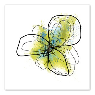 Jan Weiss 'Citron Petals II' Unwrapped Canvas - Yellow/Blue
