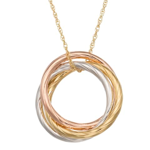 Gioelli Tri-color Gold over Silver Twisted Infinity Ring Necklace