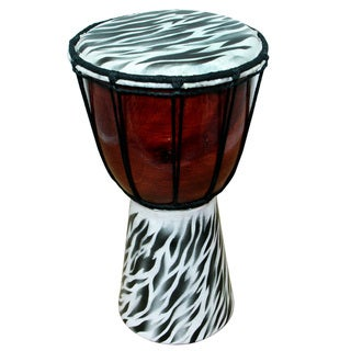 12-inch Zebra Skin Pattern Djembe Drum (Indonesia)