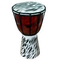 Handmade 12-inch Zebra Skin Pattern Djembe Drum (Indonesia)