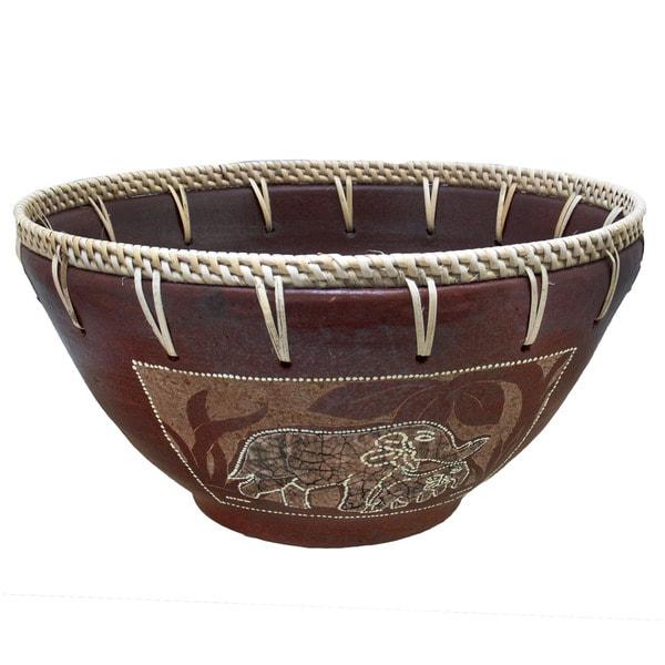 Handmade Eggshell Etched Elephant Bowl (Indonesia)