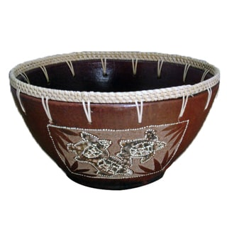 Eggshell Etched Turtle Clay Decorative Bowl (Indonesia)