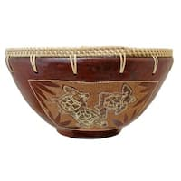 """Handmade Eggshell Etched Turtle Clay Decorative Bowl (Indonesia) - 10"""" x 10"""""""