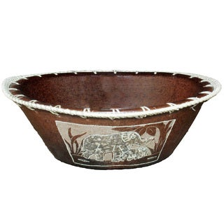 Handmade Large Eggshell Etched Elephant Bowl (Indonesia)