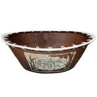Handmade Large Eggshell Etched Elephant Bowl (Indonesia)