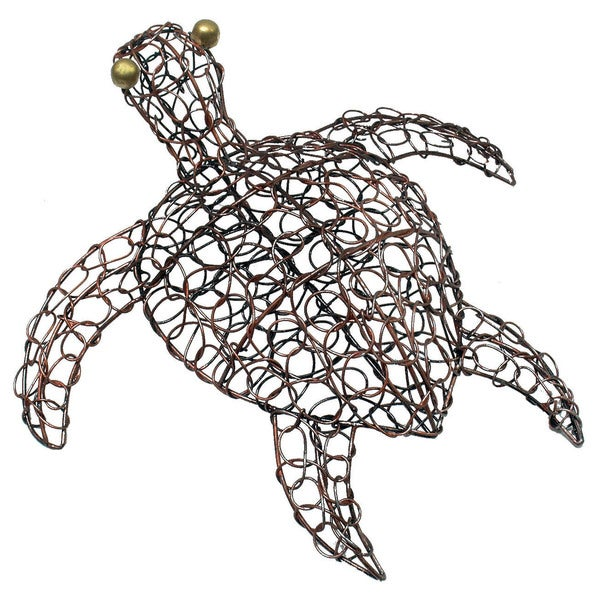 Handmade Copper Wire Turtle Figurine (Indonesia)