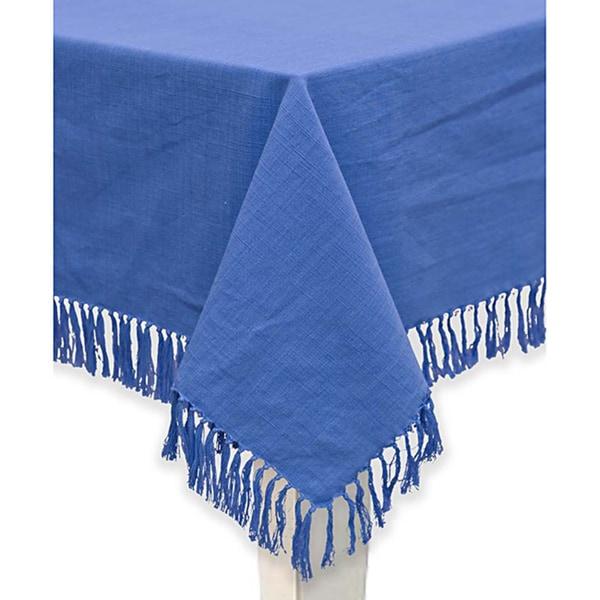 Mahagony Blue Fringed Cotton Tablecloth or Napkins (set of 4)