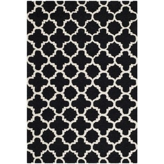 Safavieh Handmade Trellis-Patterned Moroccan Cambridge Black Wool Rug (3' x 5')