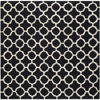 Safavieh Handmade Cambridge Moroccan Black Geometric Pattern Wool Rug (6' Square)