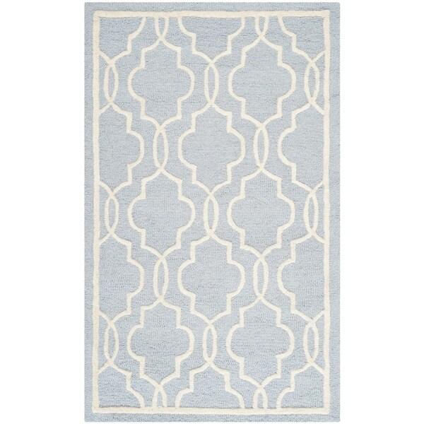 Safavieh Handmade Moroccan Cambridge Light Blue Wool Rug (2'6 x 4')