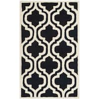 Safavieh Handmade Cambridge Moroccan Black/Ivory Wool Rug - 2'6 x 4'