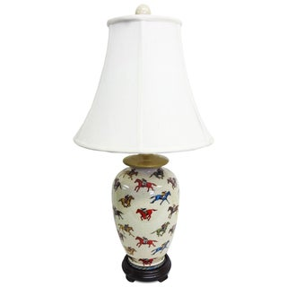 Jockey Design 1-light Round Porcelain Table Lamp