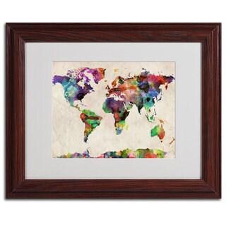 Michael Tompsett 'World Map...Urban Watercolor' Framed Matted Giclee Art