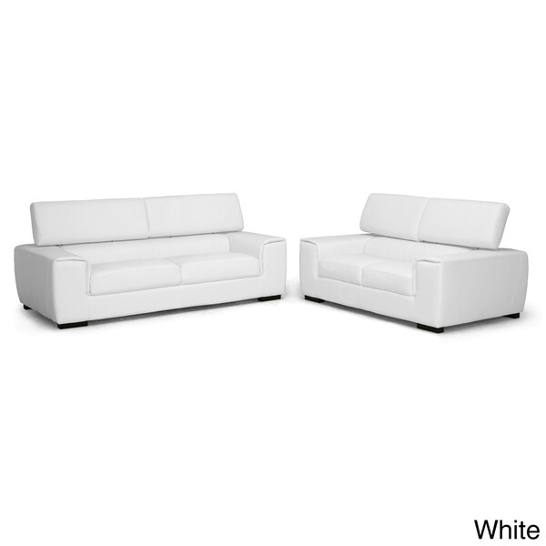 Baxton Studio Prentice 2-piece White Leather Modern Sofa Set