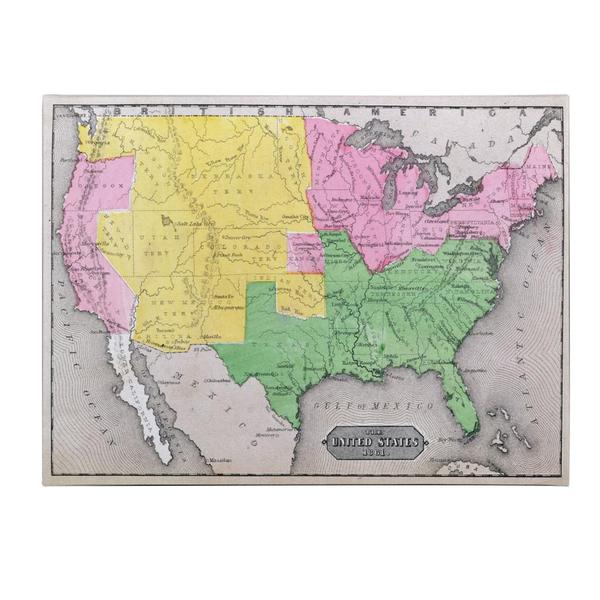 Us Map In 1861.Shop Map Of The United States In 1861 Canvas Art Multi On Sale