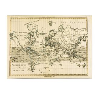 Charles Bonne 'Mercator Map of the World' Canvas Art