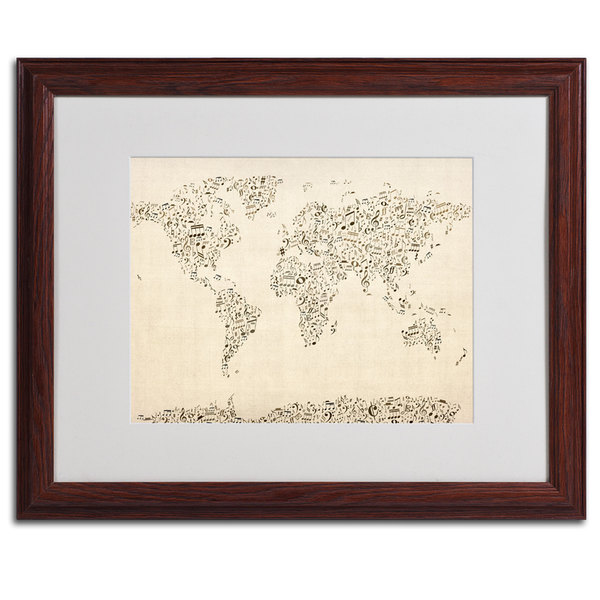 Michael Tompsett 'World Map Music Notes' Horizontal Framed Matted Art