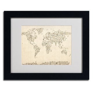 Michael Tompsett 'World Map Music Notes' Framed Matted Art