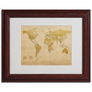 Michael Tompsett 'World Map Antique' Framed Matted Art