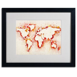 Michael Tompsett 'World Map... Orange' Framed Matted Art
