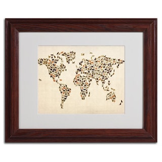 Michael Tompsett 'World Map... Cats' Framed Matted Art