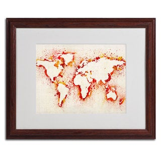 Michael Tompsett 'World Map...Orange' Framed Matted Art