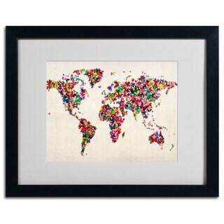 Michael Tompsett 'World Map...Butterflies' Framed Matted Giclee Art