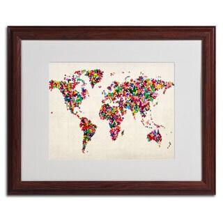 Michael Tompsett 'World Map... Butterflies' Framed Matted Art