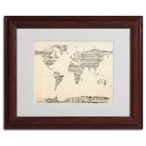 Michael tompsett world map old sheet music framed matted canvas michael tompsett x27world map old sheet musicx27 gumiabroncs Gallery