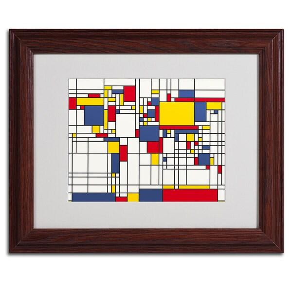 Abstract Michael Tompsett 'World Map... Mondrian' Framed Matted Art - Multi
