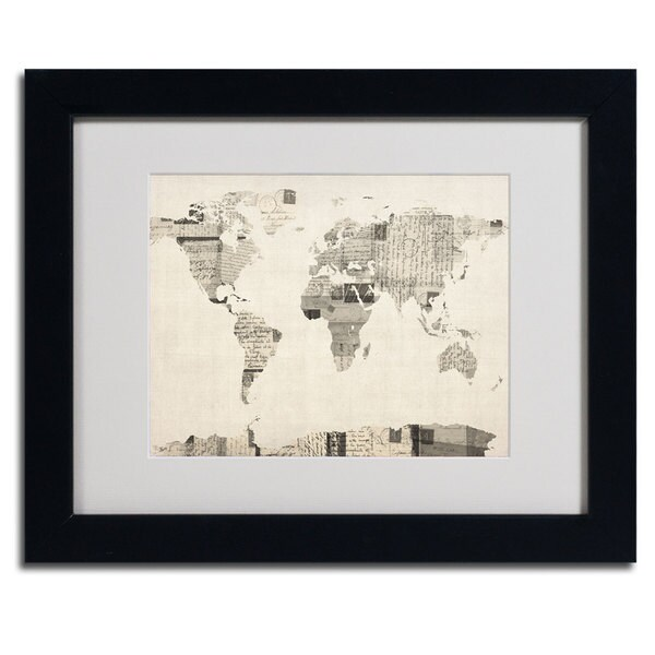 Michael Tompsett 'World Map... Vintage Post Card' Framed Matted Canvas Art