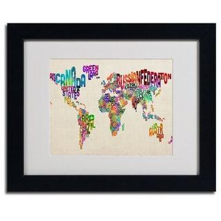 Michael Tompsett 'World Map ll...Typography' Framed Matted Giclee Art