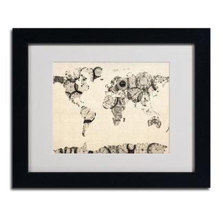 Michael Tompsett 'World Map... Old Clocks' Framed Matted Giclee Art