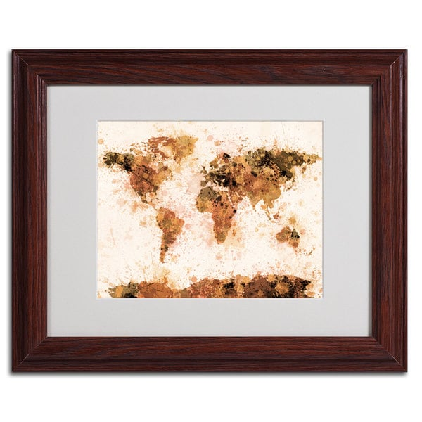 Michael tompsett world map bronze paint splash abstract framed michael tompsett x27world map bronze paint splashx27 gumiabroncs Gallery