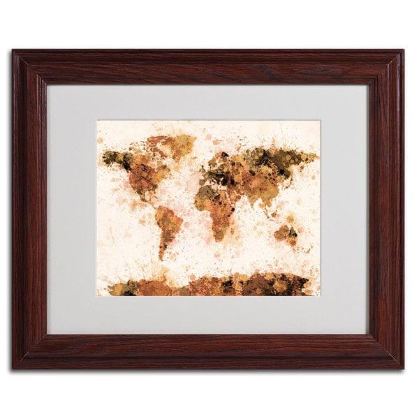 Michael Tompsett 'World Map... Bronze Paint Splash' Abstract Framed Matted Art