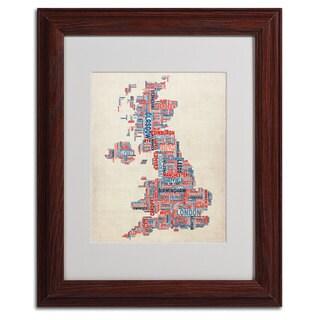 Michael Tompsett 'UK - Cities Text Map' Framed Matted Art