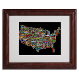 Michael Tompsett 'US Cities Text Map II' Framed Matted Art