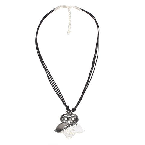 Handmade Two Tone Pewter Leather Owl Necklace (India)