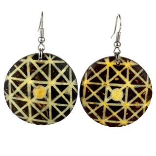 Handmade Round Coconut Inlaid with Bone Earrings (Mozambique)